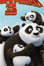 Preview iPhone wallpaper Kung Fu Panda 3, Po and cute panda cubs