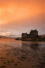 Preview iPhone wallpaper Kyle of Lochalsh, Scotland, river, sunset, houses