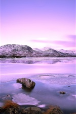 Preview iPhone wallpaper Lake, mountains, stones, snow, winter, sky, clouds