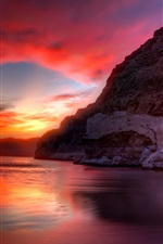 Lake, red sky, clouds, mountain, rocks