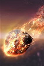 Preview iPhone wallpaper Meteorite, friction, fire, sky