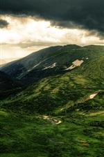 미리보기 iPhone 배경 화면 산, 언덕, 나무, 녹색 초원, 구름