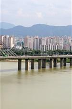 Preview iPhone wallpaper Olympic Bridge, Hangang river, city, houses, Seoul, Korea