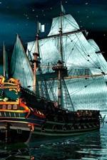 Vorschau des iPhone Hintergrundbilder Piraten-Schiff auf ruhigem Meer