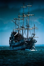 Preview iPhone wallpaper Pirate ship sailing under the moonlight