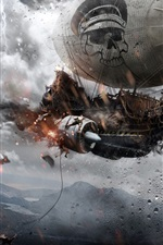 Preview iPhone wallpaper Pirate ships fly in the sky, rain, war