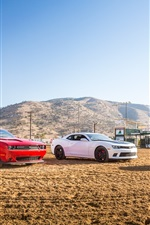 Preview iPhone wallpaper Red Dodge Challenger, White Chevrolet Camaro, Yellow Ford Mustang