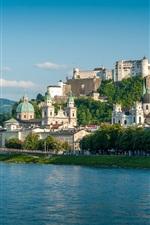 Preview iPhone wallpaper Salzburg, Austria, river, bridge, houses, mountains