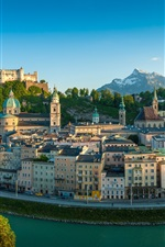 Preview iPhone wallpaper Salzburg, The Republic of Austria, river, houses