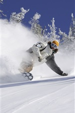 Preview iPhone wallpaper Snowboard, sports, snow flying