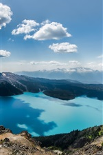 Preview iPhone wallpaper Squamish-Lillooet, Columbia, Canada, lake, mountains, sky, clouds
