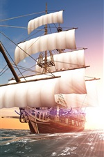 Preview iPhone wallpaper Sun rays, sea, sail, ship