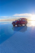 Uyuni Salt Lake, girl, Toyota pickup, sunset, blue sky