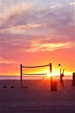 Preview iPhone wallpaper Venice beach, Los Angeles, California, USA, sunset, volleyball, people