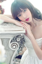 Preview iPhone wallpaper White dress Asian girl, red lip, posture, flowers
