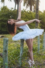 Preview iPhone wallpaper White dress girl, ballerina, fence, grass