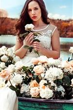 White dress girl in boat, rose flowers