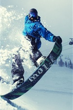 Preview iPhone wallpaper Winter, snowboard sports, thick snow