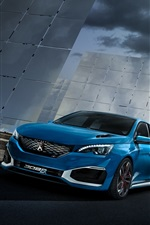 Preview iPhone wallpaper 2015 Peugeot 308 R hybrid concept blue color car
