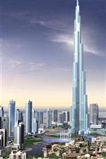 미리보기 iPhone 배경 화면 3D 렌더링, 버즈 칼리파, 건물, 두바이