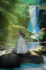 Preview iPhone wallpaper Art pictures, girl play violin, waterfalls, stones