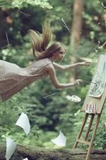 Artista menina, voando, desenho, papel, imagens criativas