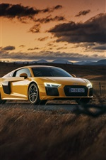 Preview iPhone wallpaper Audi R8 V10 yellow car at sunset