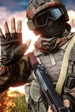 Battlefield 4, soldado, capacete, óculos, mão