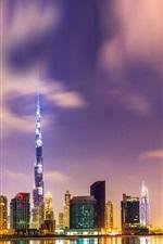 Preview iPhone wallpaper Beautiful night in Dubai, Burj Khalifa, high-rise buildings, lights, water