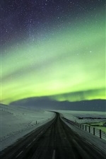Preview iPhone wallpaper Beautiful northern lights, road, snow, winter, Iceland