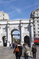 Preview iPhone wallpaper Buildings, gate, street, people, Baker Street, London, England