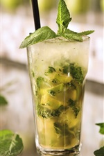 Preview iPhone wallpaper Cold drinks mojito, mint leaves, lime green, ice