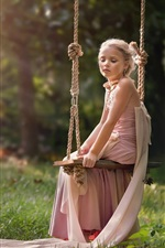 Preview iPhone wallpaper Cute girl sit on swing, sun, summer