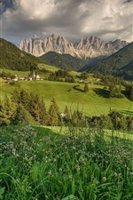 Preview iPhone wallpaper Dolomites, Santa Magdalena, Italy, fields, mountains, trees, houses