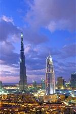 Preview iPhone wallpaper Dubai, Burj Khalifa, skyscraper, nights, lights