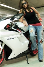 Preview iPhone wallpaper Ducati 848 white color motorcycle and girl