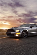 Preview iPhone wallpaper Ford Cobra Shelby GT500 supercar at sunset