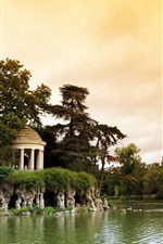 Preview iPhone wallpaper France, Paris, Bois de Vincennes Parc, lake, trees, clouds, dusk