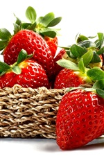 Preview iPhone wallpaper Fresh strawberry, red berries, fruit, basket