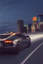Preview iPhone wallpaper Gray Lamborghini supercar, speed, rear, night
