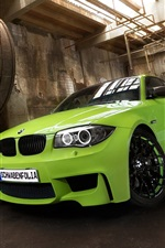 Preview iPhone wallpaper Green BMW car front view, factory