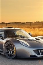 Preview iPhone wallpaper Hennessey Venom GT silver color supercar