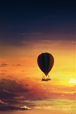 Preview iPhone wallpaper Hot air balloon, sunset, art painting