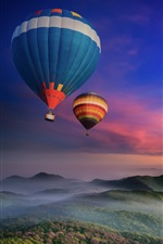Preview iPhone wallpaper Hot air balloons flying, morning, dawn, sunrise, mountains, fog