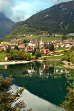 Preview iPhone wallpaper Italy, Molveno, mountains, houses, lake, clouds