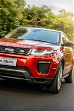 Land Rover Range Rover red SUV car speed, road, sun rays