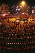 Preview iPhone wallpaper Lantern Festival, China, night, Dragon dance