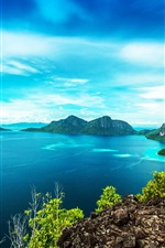 Preview iPhone wallpaper Malaysia beautiful landscape, Bohey Dulang Island, sea, coast, mountains