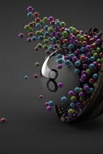 Preview iPhone wallpaper Many balls, bowl, eight, gray background, 3D design