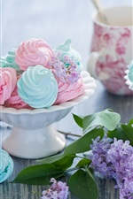 Preview iPhone wallpaper Meringues, sweet cakes, colorful, food, lilac flowers